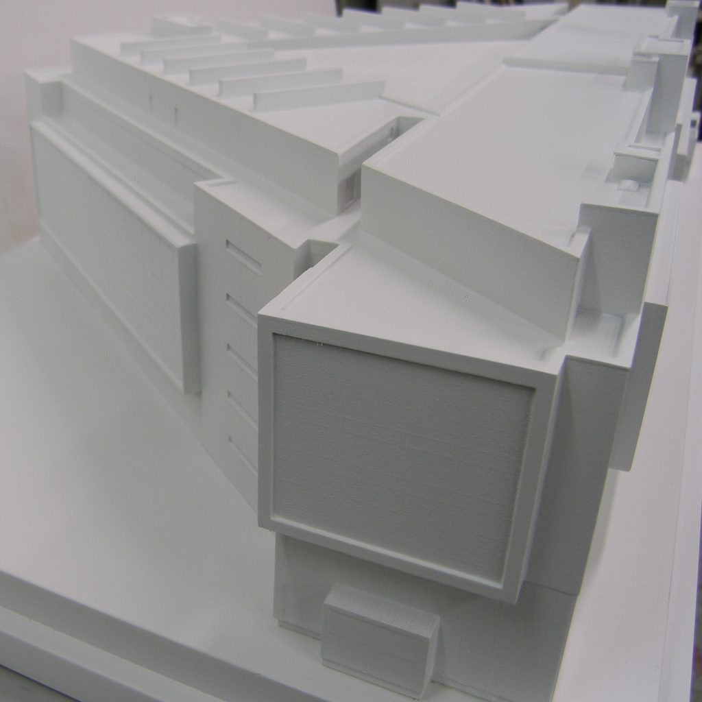 white 3d printed model building